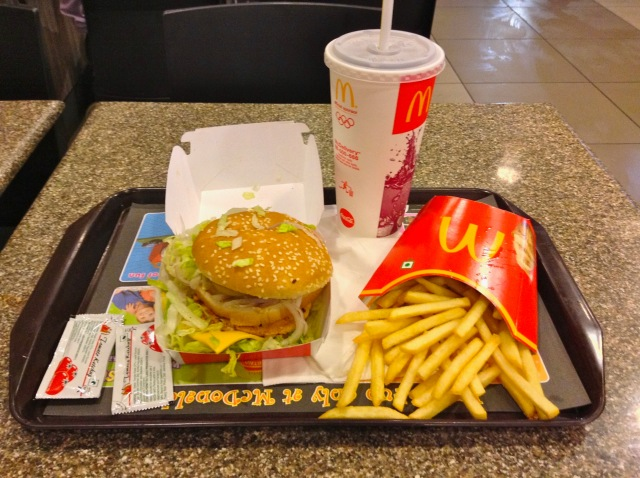 The Maharaja Mac is made using chicken, since it is illegal to kill cows.  The combo cost about $3.25.