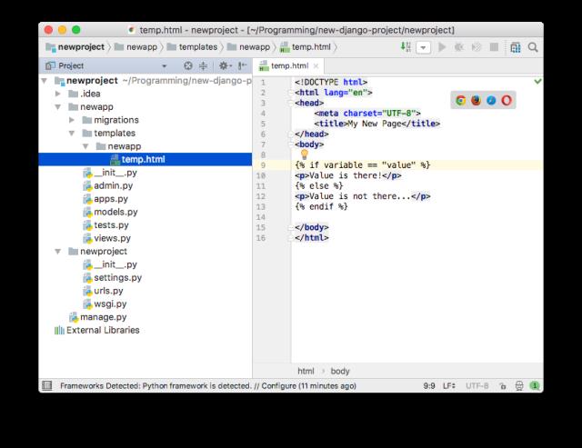 PyCharm - HTML Editor