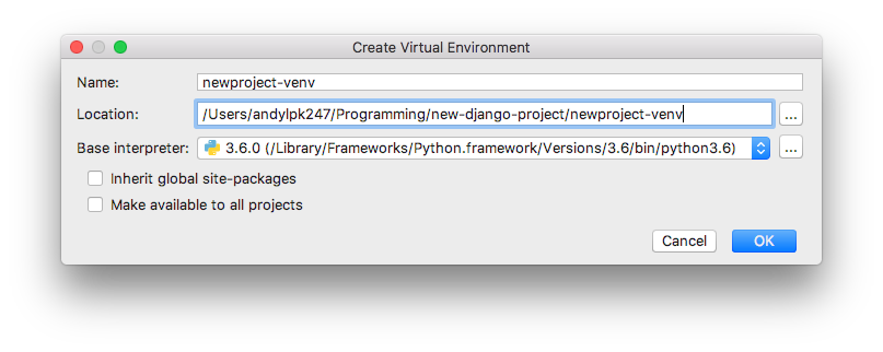 PyCharm - New VirtualEnv