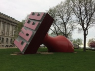 """FREE"" stamp sculpture next to city hall."