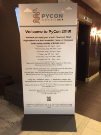 The welcome banner at my hotel
