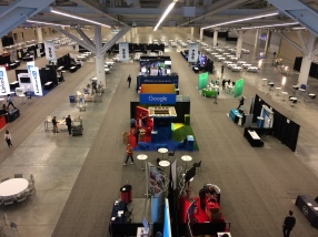 Setting up the expo hall