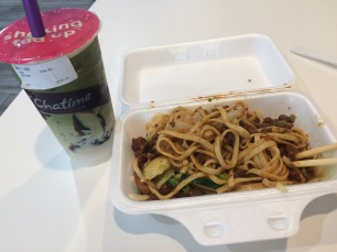 Dan dan noodles and bubble tea for lunch