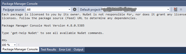 Nuget Package Manager Console