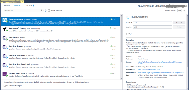 Nuget Package Manager Page