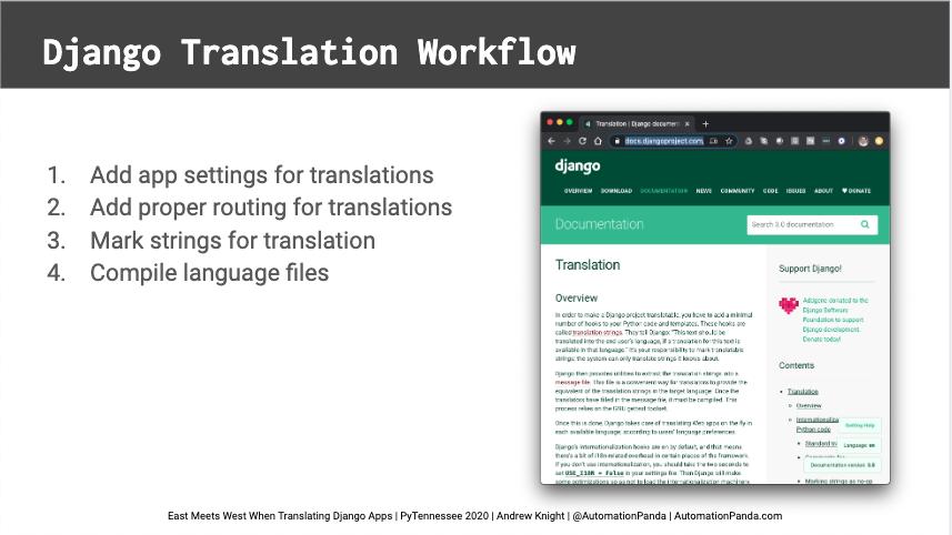 East Meets West When Translating Django Apps